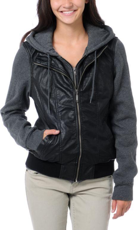 2b398153e #Dravus Girls Meridian Black Vest Hoodie with jersey sleeves. #FauxLeather  #Zumiez #Jacket