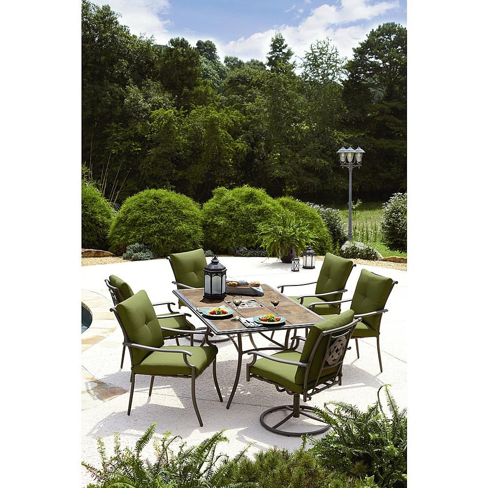 Garden Oasis Emery 7 Piece Cushion Dining Set Green Outdoor