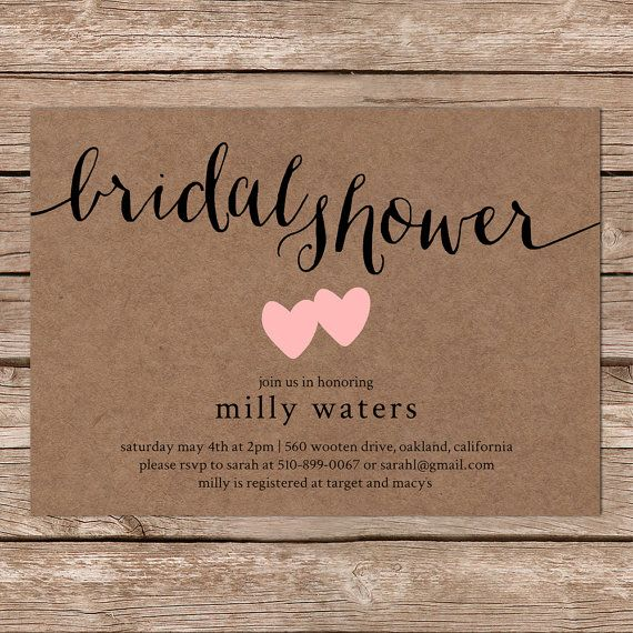rustic bridal shower invitation with kraft background / digital or, Wedding invitations