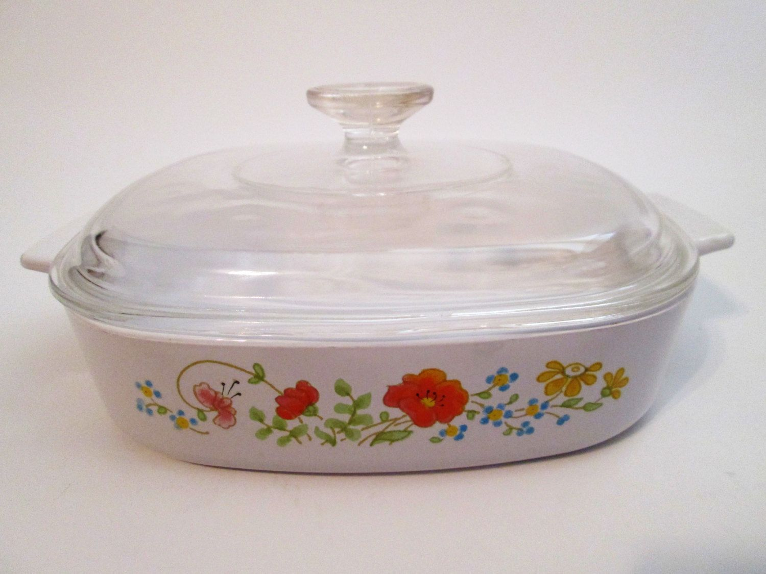 Vintage Corning Ware Casserole Dish A 8 B With Lid Wildflower