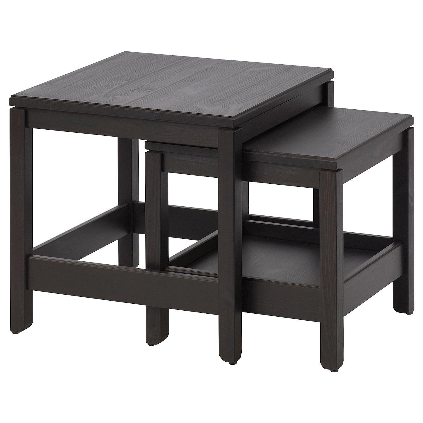 Ikea Salontafel Rond Zwart.Havsta Bijzettafel Set Van 2 Donkerbruin
