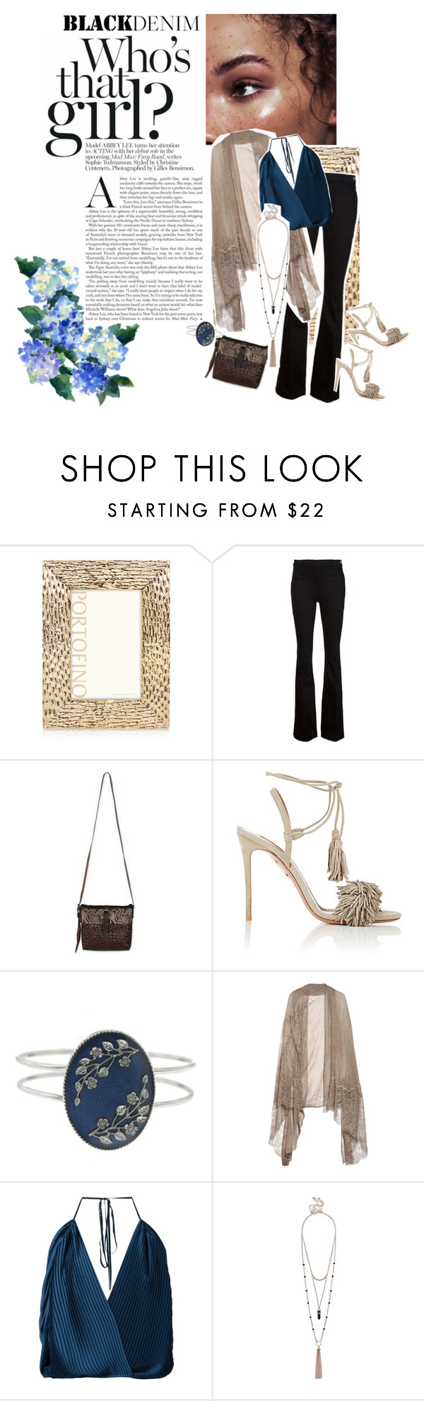 """""""Black denim"""" by beachan ❤ liked on Polyvore featuring мода, Argento SC, Frame Denim, NOVICA, Aquazzura, 1928, Valentino, Tome, GUESS и women's clothing"""
