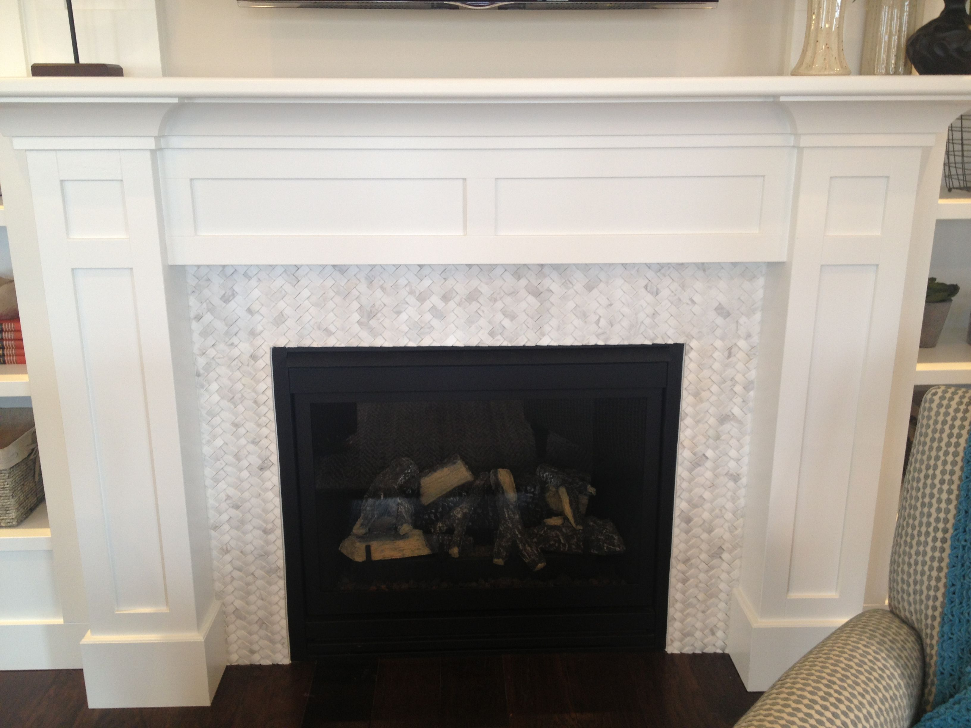 Fireplace Surround Design Ideas perfect fireplace surround designs Basket Weave Carrara Marble Fireplace Tile Surround With White Mission Style Mantel