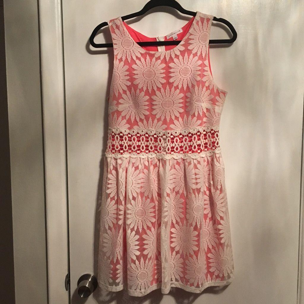 Short white lace u orange coral c thru dress products
