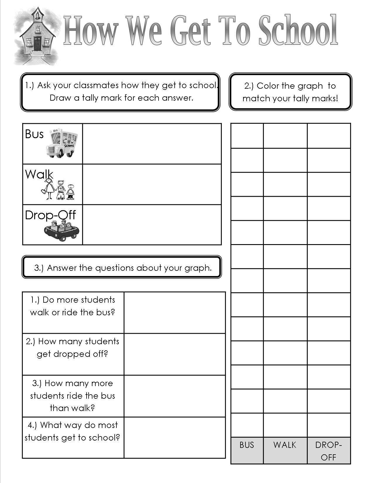 How We Get To School Sheet Teaching Heart Blog Math School Teaching Math Lessons