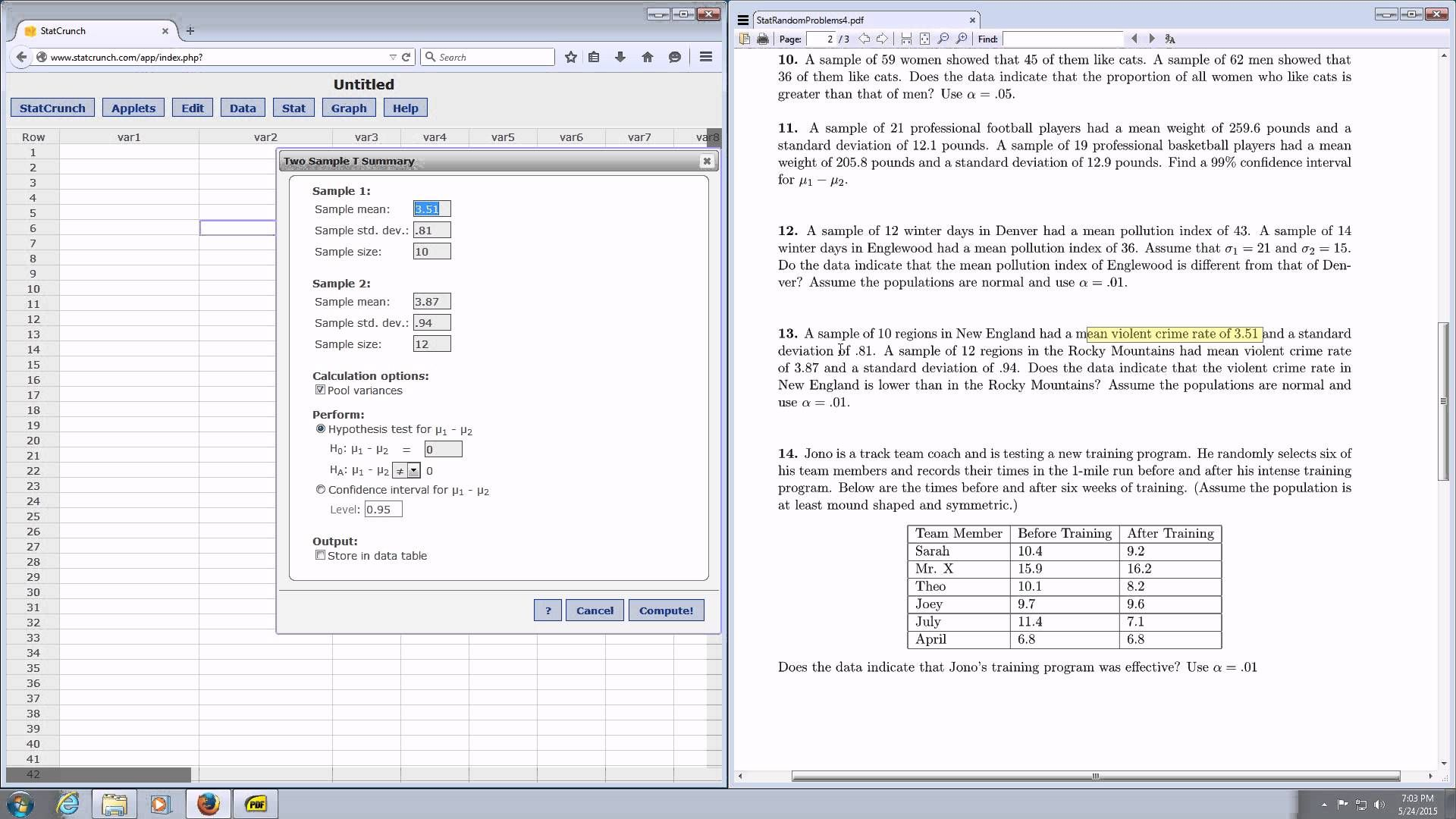 P Value And Test Statistic For A Two Sample Hypothesis T Test Using Stat