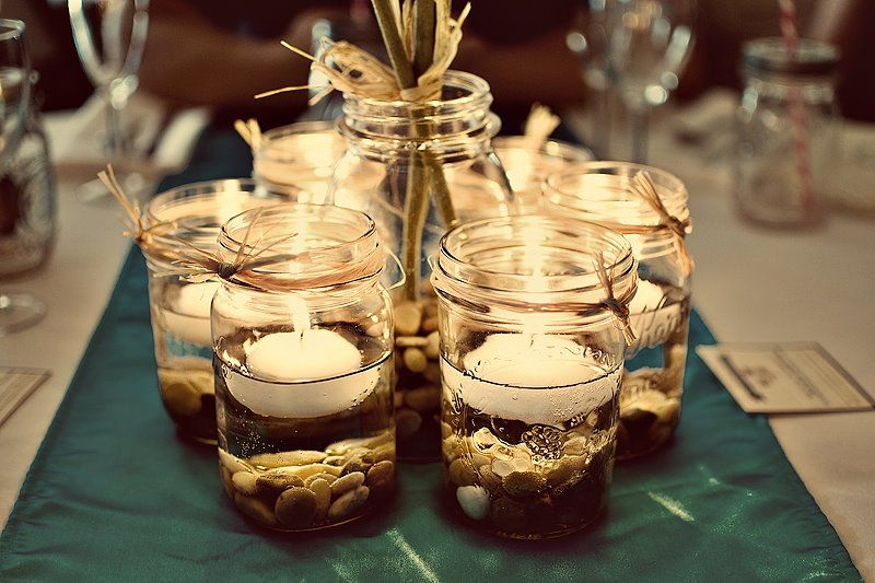 decorated mason jars for weddings jar centerpieces pint jars pebbles floating 3341