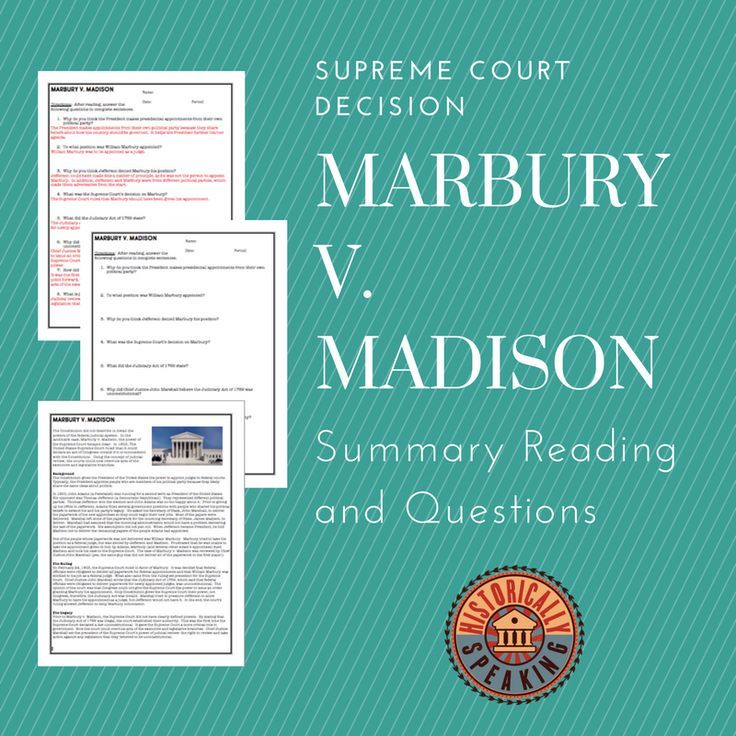 Supreme Court Marbury v. Madison Summary and Questions
