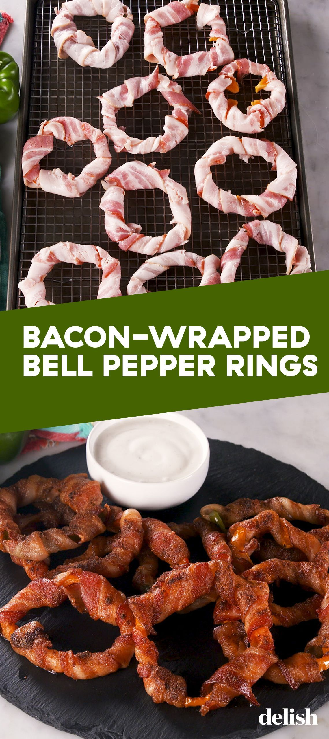 Bacon-Wrapped Bell Pepper Rings = Best Low-Carb Snack #bellpepperrecipes