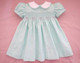 Lovely Light Pale Pink Hand Smocked Round Yoke Bishop Dress