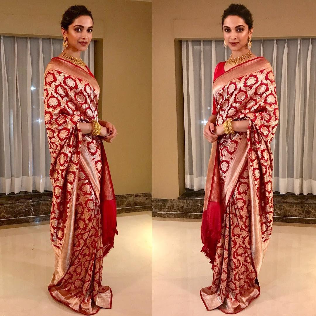 Loved How Anushka Sharma And Deepika Padukone Wore Their Red Sarees Read This Elegant Saree Deepika Padukone Saree Saree Designs