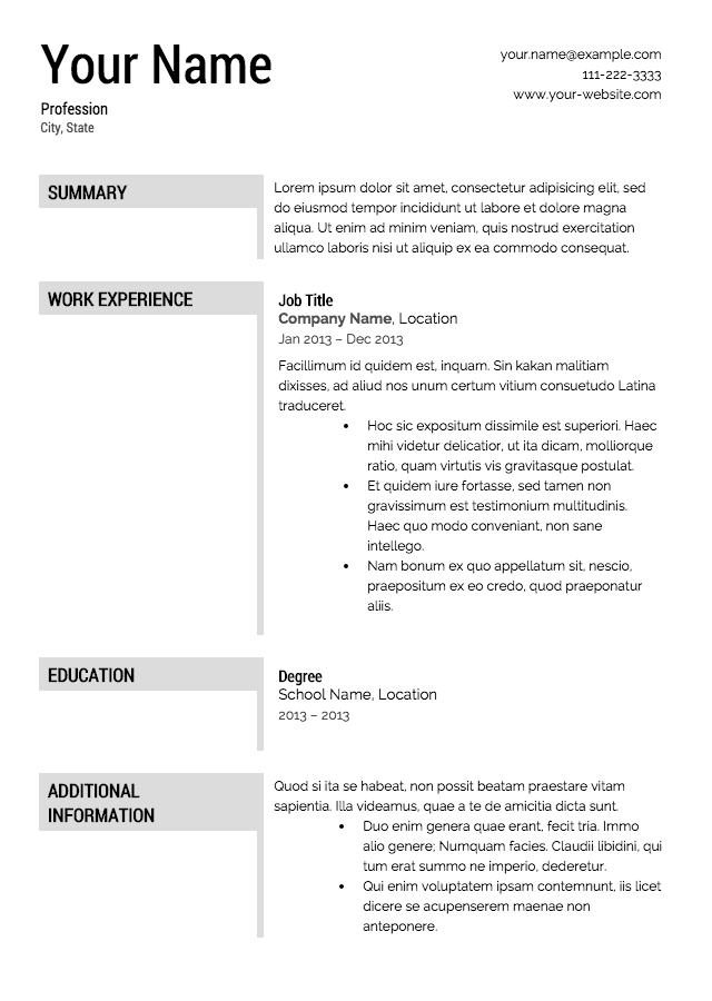 Free Sample Resumes Resume Templates Free Samples Download Sample Resumes  Home