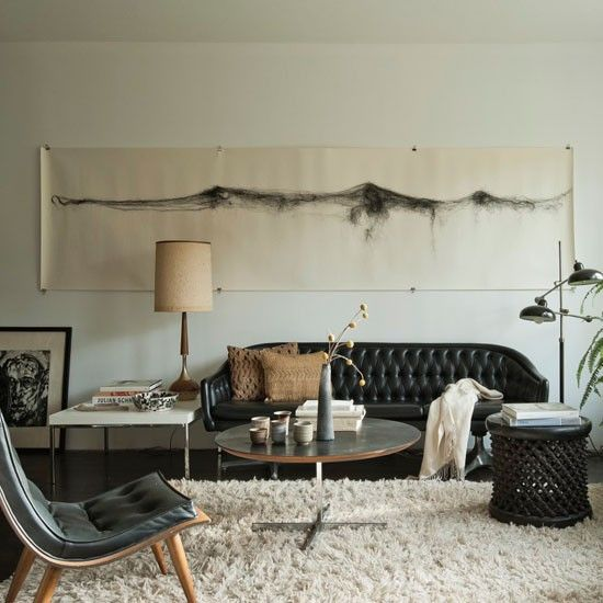 Textured Tribal Living Room The Juxtaposition Of Mid Century Furniture And More Rustic Finds Including Pieces From Africa A Collection