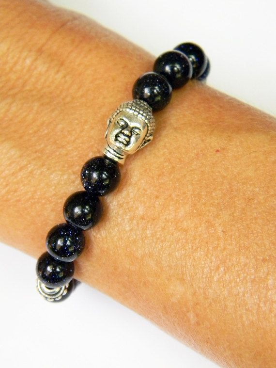 Blue Goldstone Bracelet With Buddha Head Yoga By Vegantribejewelry Protection Stones Crystal