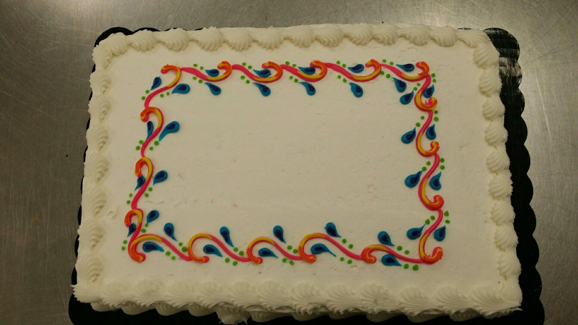 Multicolored line work sheet cake buttercream by sarah