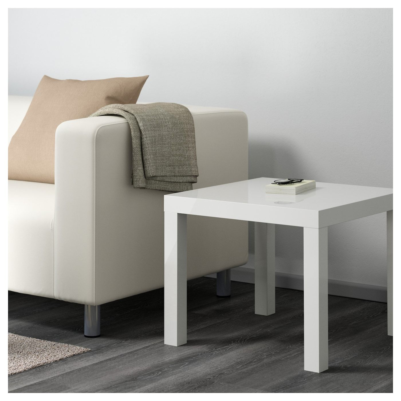 """LACK Side table high gloss white 21 5/8x21 5/8 """" (With"""