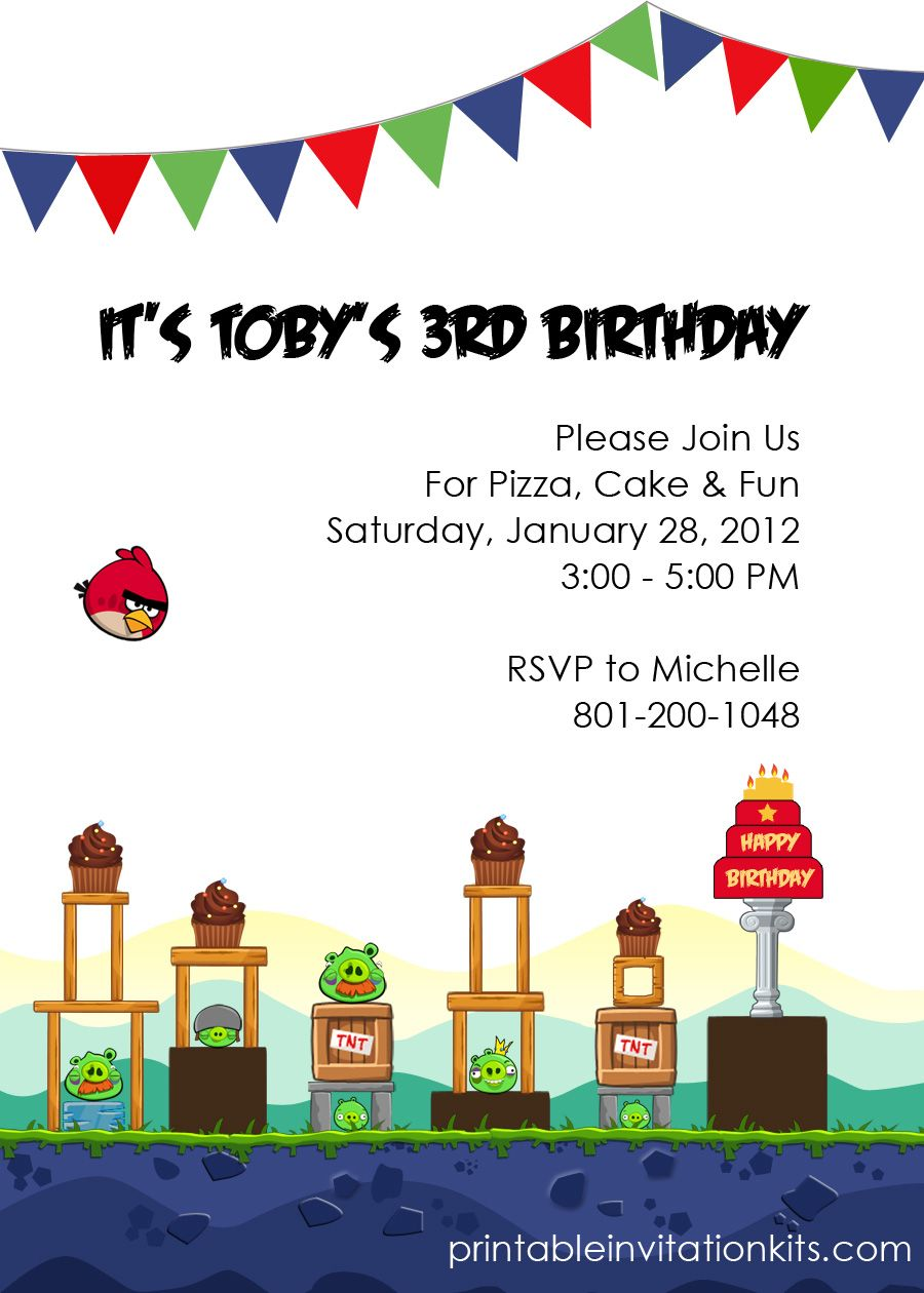Angry Birds Invitation Free Printable | Angry bird party | Pinterest ...