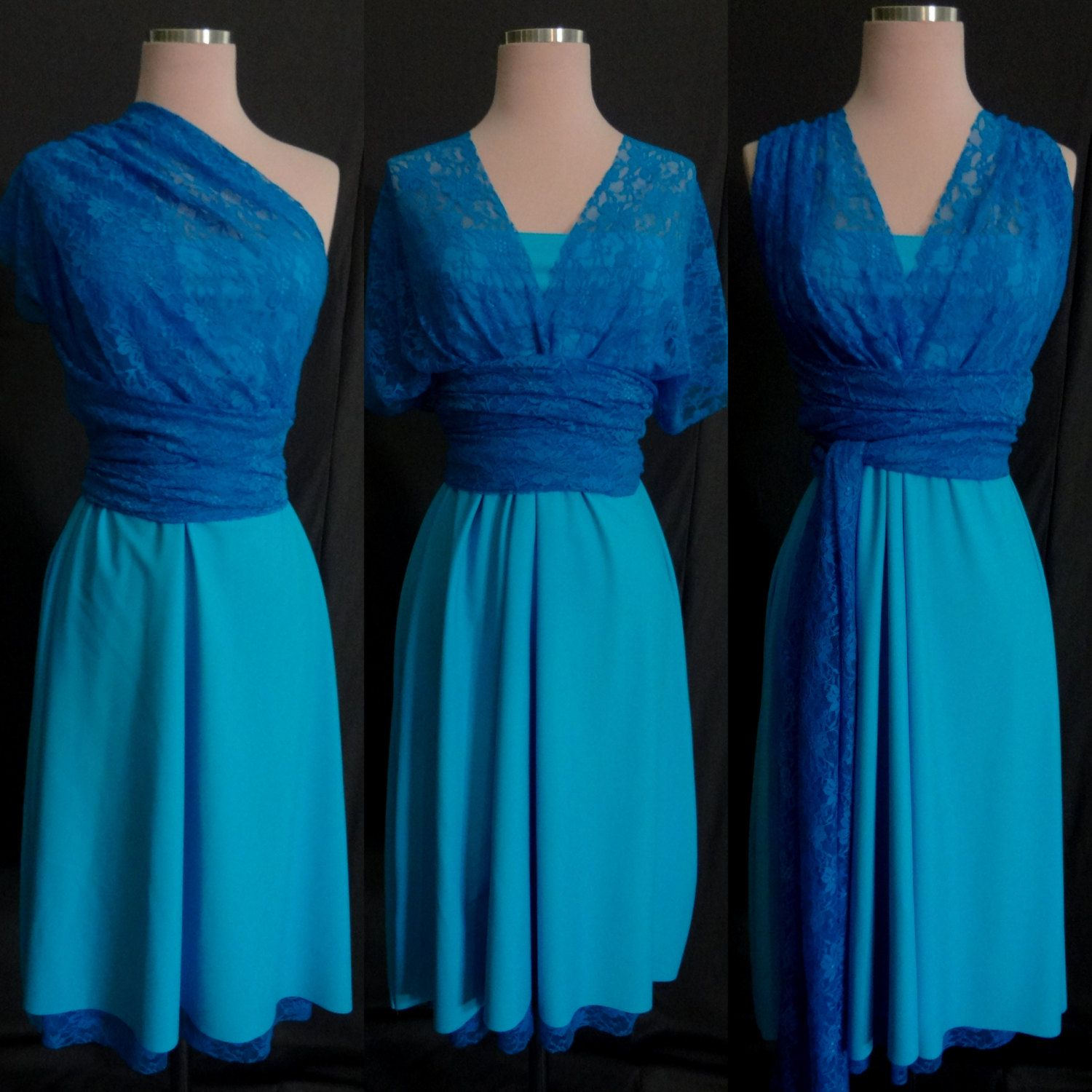 Turquoise Blue Lace Bridesmaids Infinity Dress ...67 by StaysiLee ...
