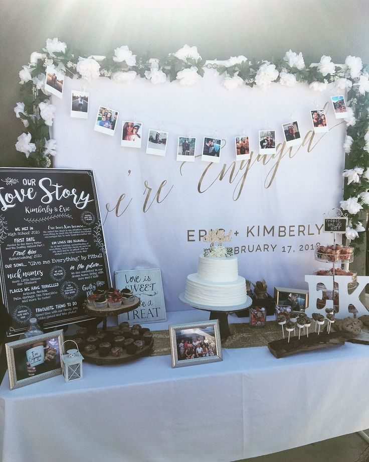 We're Engaged Backdrop, Engagement Party Photo Backdrop Design