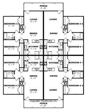 J0124 13 4b 4plex Floor Plan Duplex Floor Plans Apartment Plans House Plans