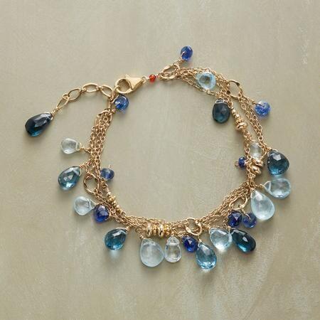 Thoi Vo Blue Gemstone Teardrop Bracelet