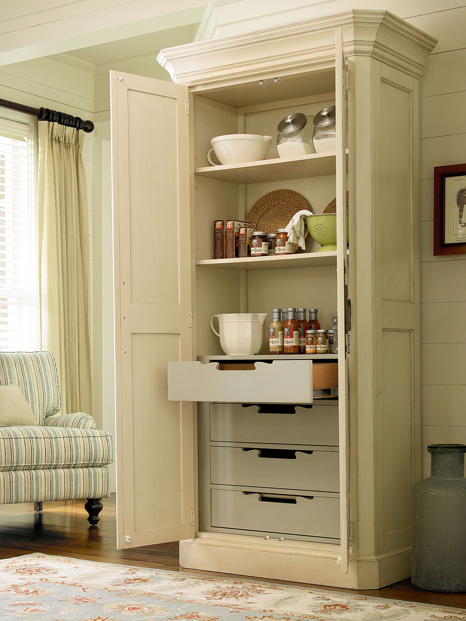 Beau River House Collection  Utility Cabinet With Four Tray Drawers And Two  Adjustable Wood Shelves In River Boat Finish