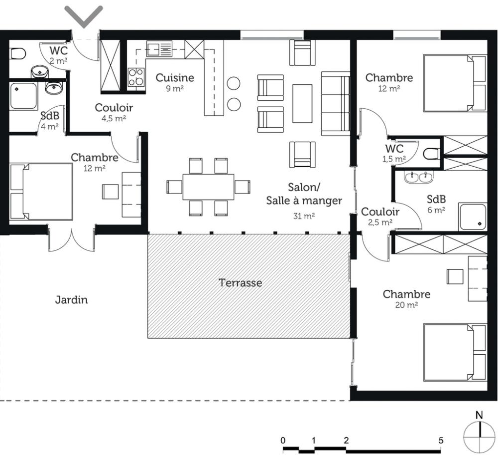Plan De Maison Maison De Plain Pied 120 M2 11