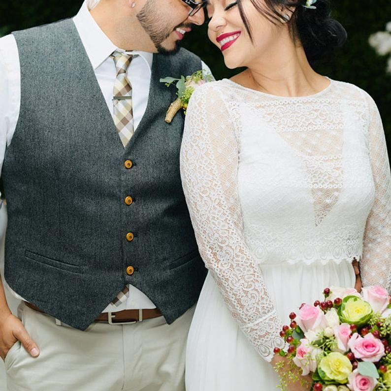 Boho long sleeve wedding top lace bolero back button