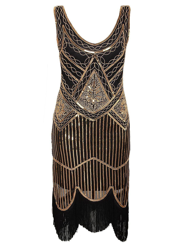 4626bccb111 Amazon.com  Vijiv Women s 1920s Gastby Inspired Sequined Embellished  Fringed Flapper Dress  Clothing