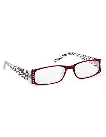 Our lovely reading glasses are embellished with an attractive dot print along the arms. Lines of rhinestones decorate the corners for a shimmering finish. Features +1-2.50 power. Catherines accessories are made to accommodate the needs of the plus size woman. catherines.com
