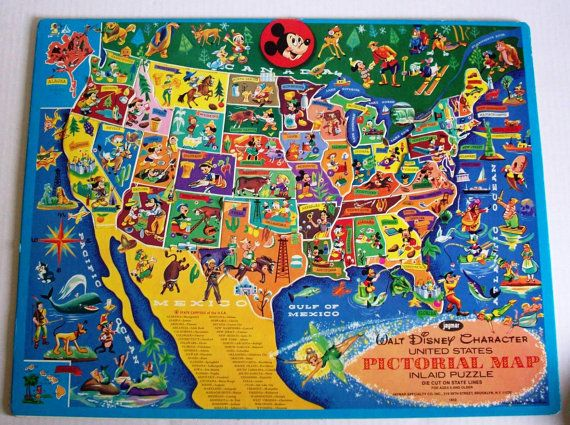 Walt Disney Character USA Pictorial Map Inlaid Puzzle Vintage