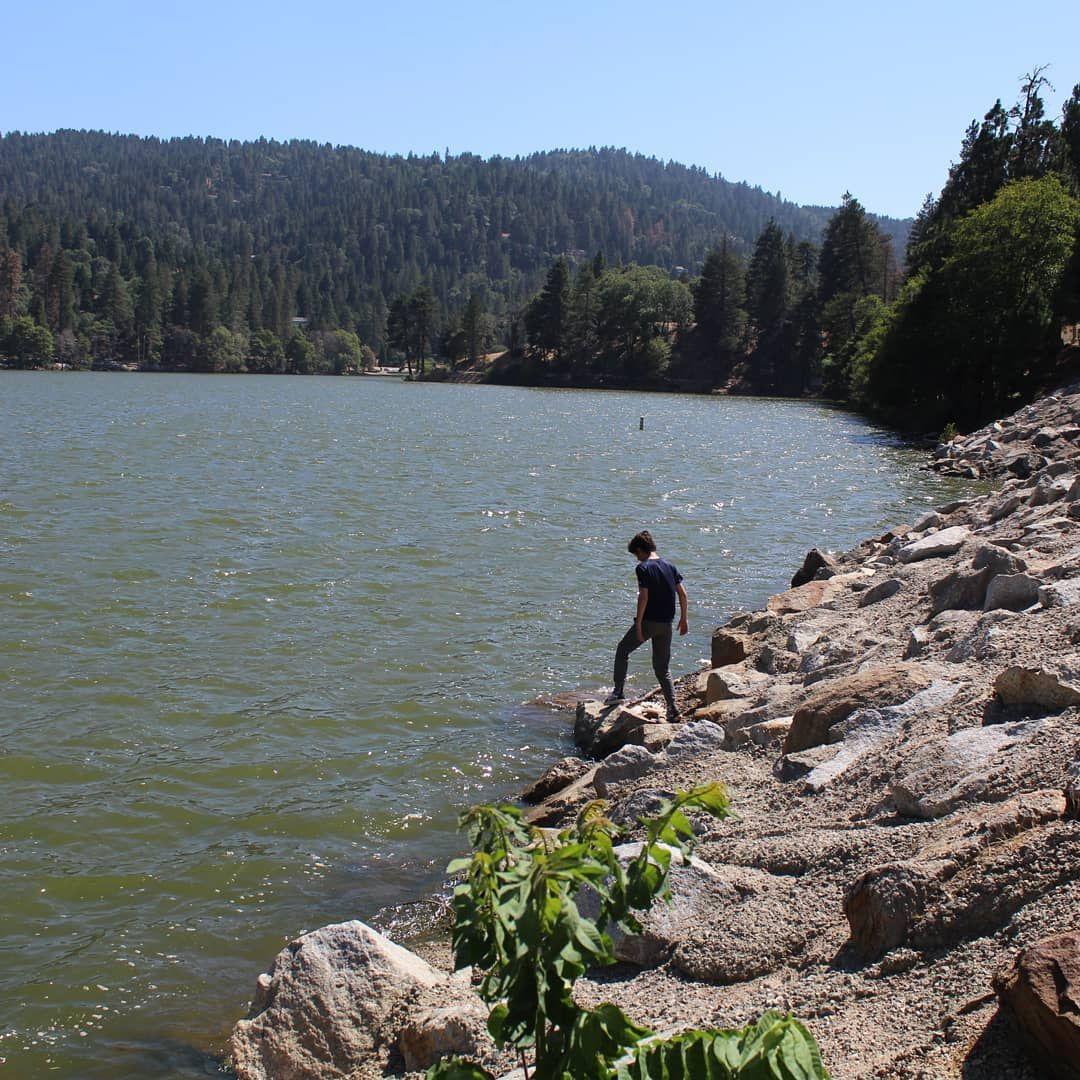 Asa man exploring the California mountain lakes  Lake Gregory
