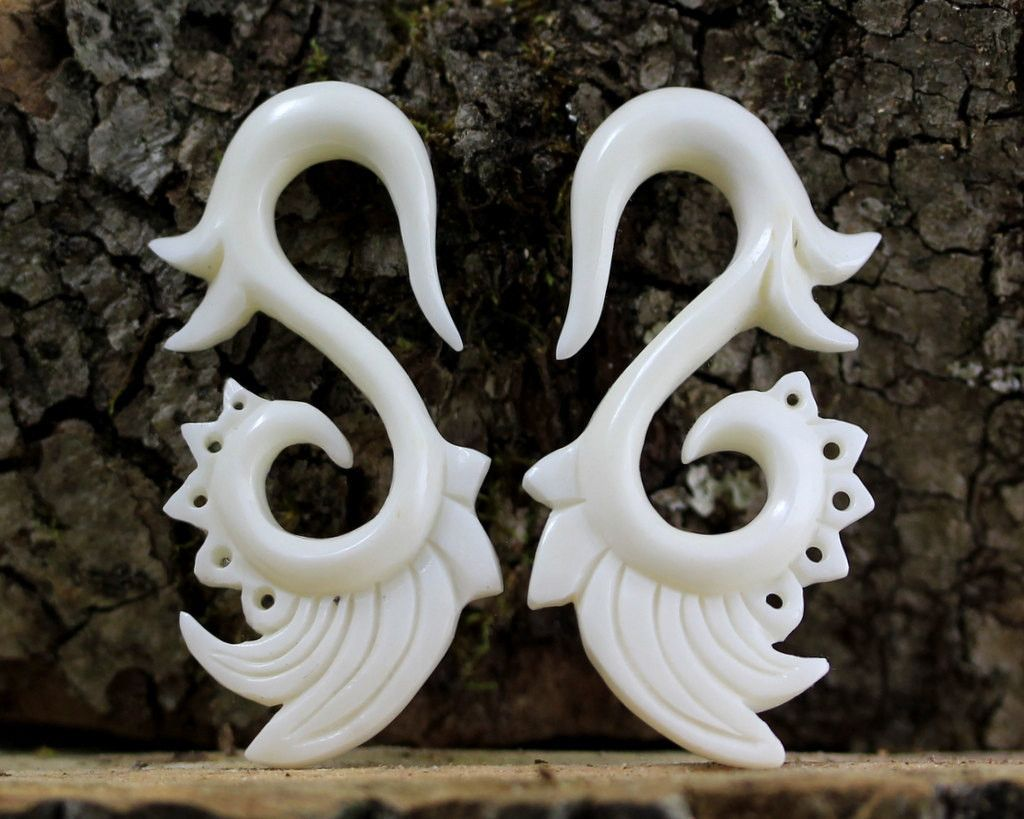 2 Gauge Carved Bone Earrings 2 G Bone Earrings Primitive Jewelry Bone Carving