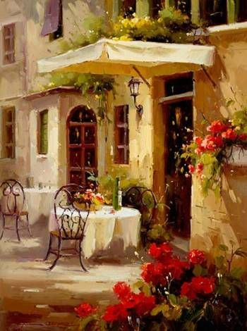 cafe, red window panes and red flowers   Oil paintings ...