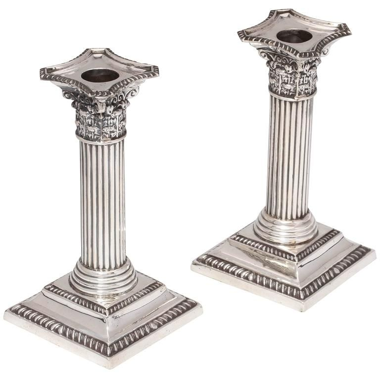 Edwardian Pair of Sterling Silver Corinthian Column ...
