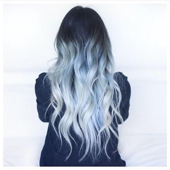 Blue Color Melt Blue Hair Ombre Medium Length Hair Beach Waves Curled Hair Shadow Root Merm Blue Ombre Hair Medium Hair Styles Medium Length Hair Styles