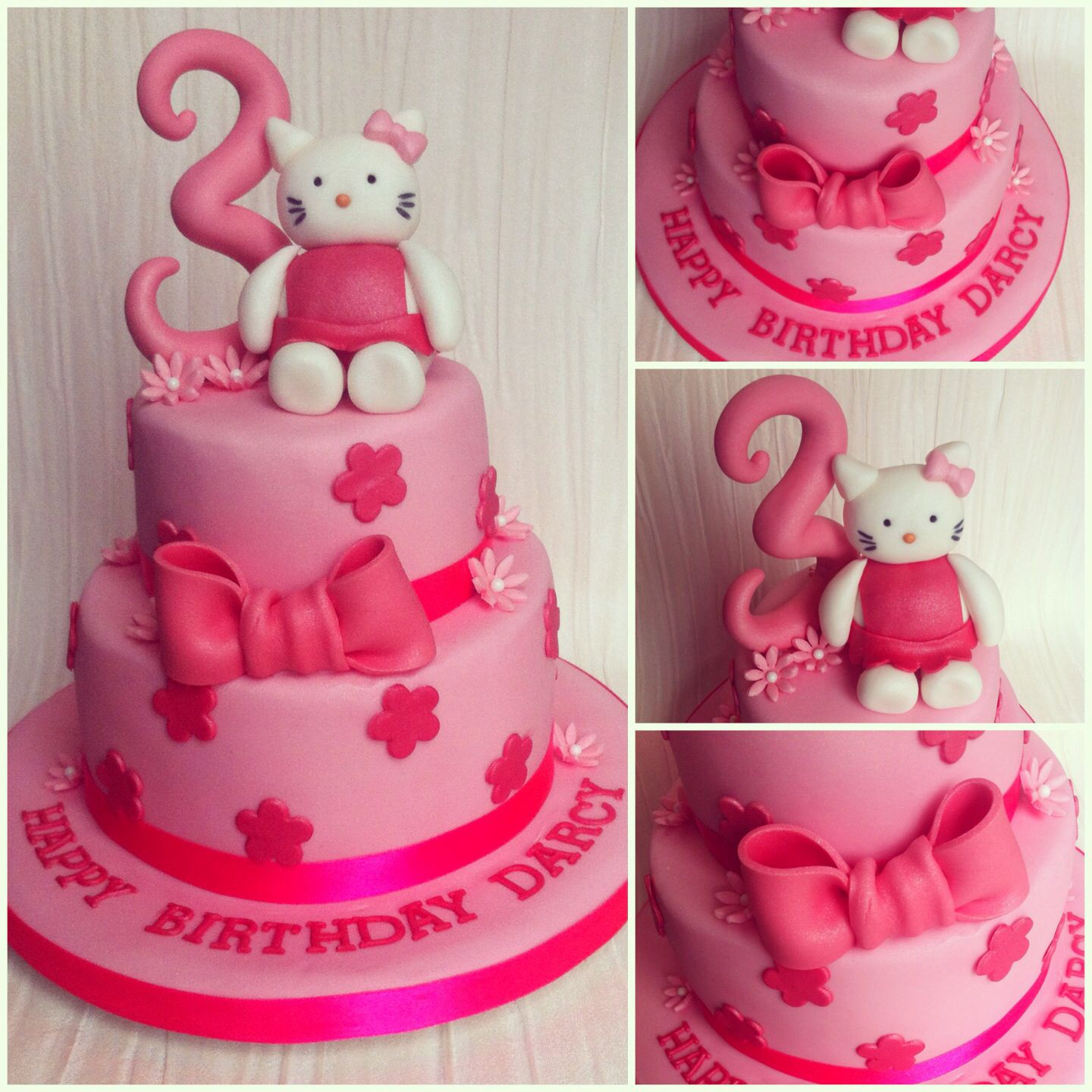 Hello kitty cake the pink bow and stars | Cat cake, Hello ...