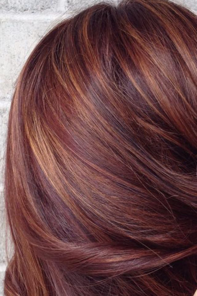 Brown Hair With Highlights With Red And Caramel Pictures Of Copper Color Hair Dark Brown Hairs Hair Highlights Hair Color Pastel Hair Styles