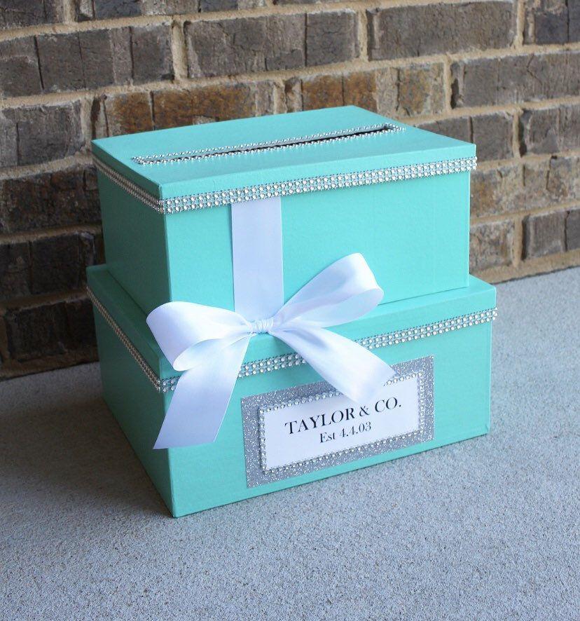 Robins Egg Blue Card Box Centerpiece (MidSize), Turquoise