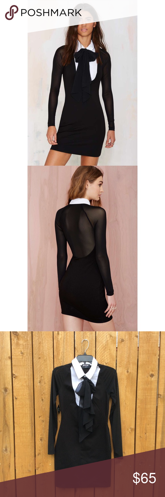 Nasty Gal Atone Collared Dress The black bodycon dress has white collar detailing with a snap bow at the neck, sheer sleeves and back, and a zip closure at the side. Sold out. Size medium but fits slightly tight in the chest. Nasty Gal Dresses Long Sleeve