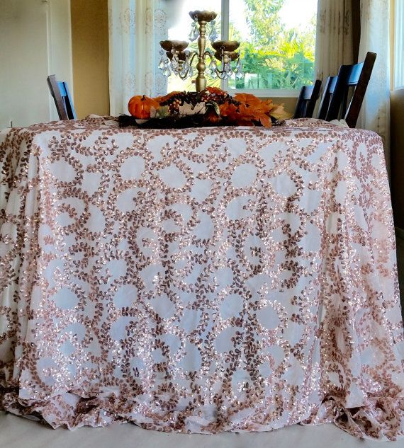 Wonderful Rose Gold Vine Sequin Tablecloth Rose Gold By SanDiegoPinkWedding