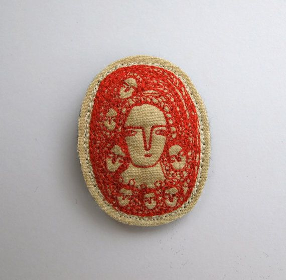 scarlet dreamers an embroidery brooch miniature by cathycullis