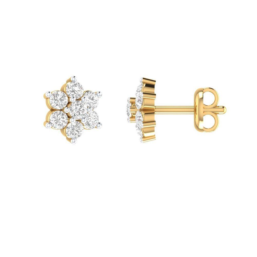 1 4 Ct Round Diamond Simple Flower Stud Earrings 14k Yellow Gold Gp Girl Gift Animasjewels Stud Stud Earrings Sterling Silver Flowers
