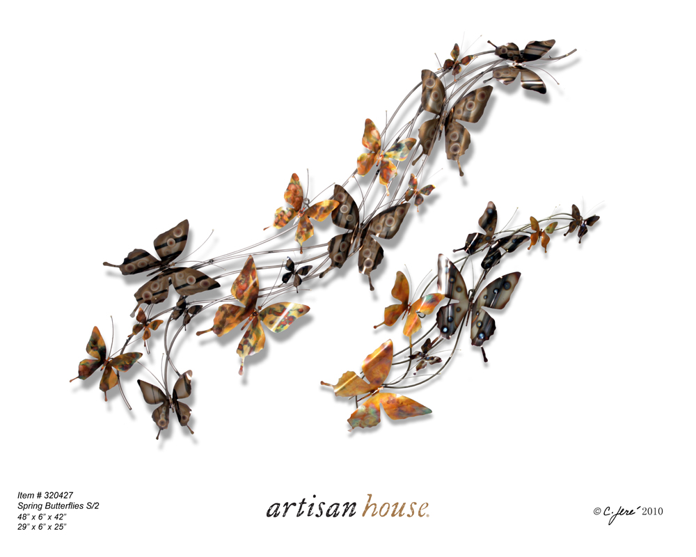 Butterfly Leaf Branch Wall Art   Spring Butterflies By Artisan House