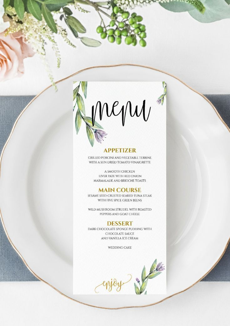 Wedding Menu Template, Printable Menu, Floral Wedding Menu Template, Wedding Dinner Menu, Instant Download, Edit by Yourself, DIY Menu #weddingmenutemplate