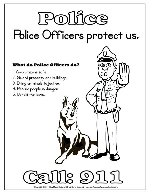 Kindergarten Police Officer Printables Community Helpers