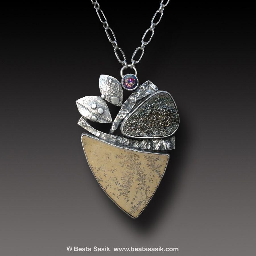 by Beata Sasik, DENDRITE LIMESTONE Necklace Sterling Silver Rainbow Pyrite Druzy.