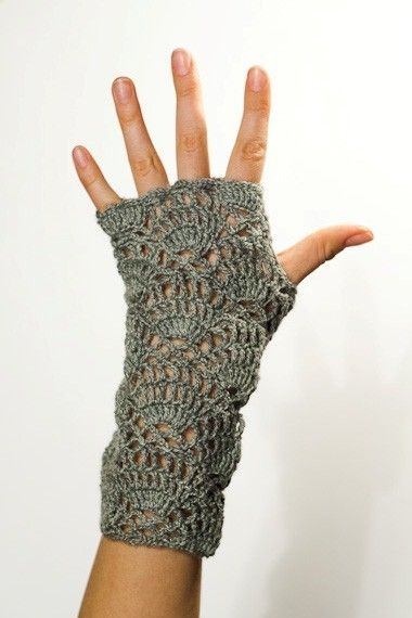 PDF CROCHET PATTERN Gloves - Flower for the Wind Chaser - grey fingerless lace hand warmers.