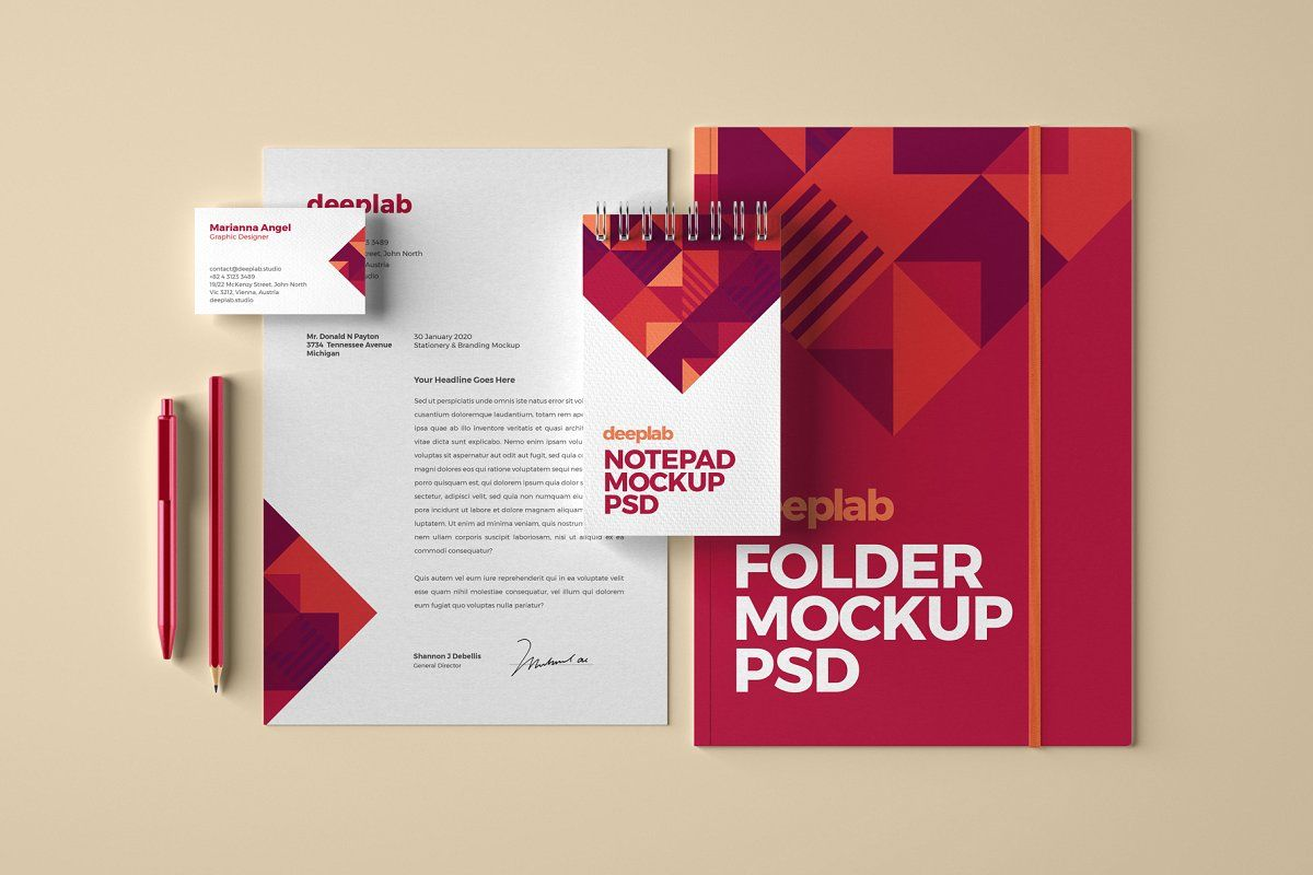 Download Stationery Design Psd Mockup Yellowimages