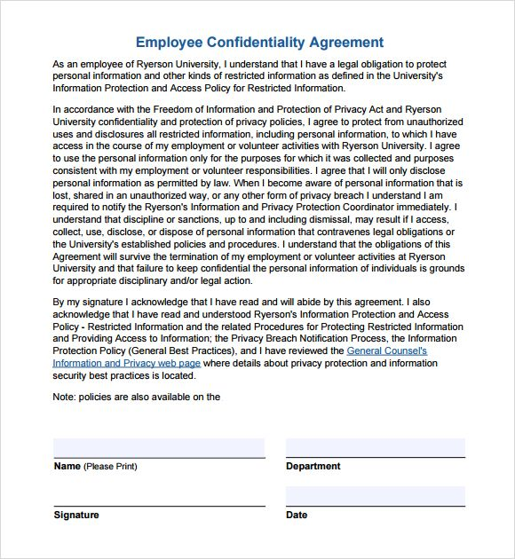 Employee Confidentiality Agreement Non Disclosure Agreement Template